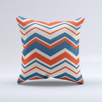 Red White and Blue Textile Chevron Pattern ink-Fuzed Decorative Throw Pillow