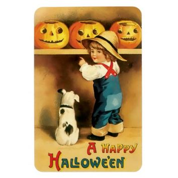 Vintage Halloween Magnet with Boy,Dog & Pumpkins