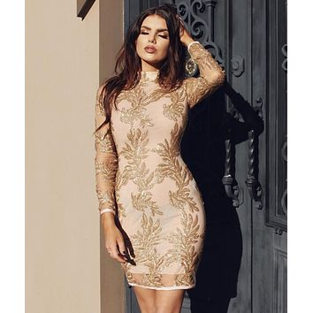 Astraea gold hand embellished bandage and mesh dress
