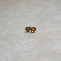 Teeny Tiny Gold Glitter Earring Studs Small Post Earrings