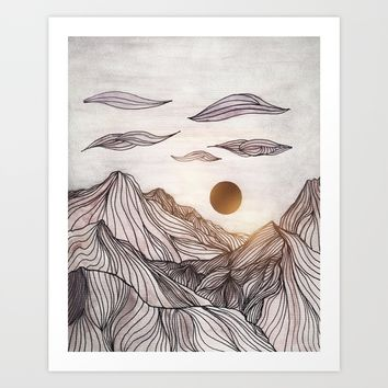 Lines in the mountains Art Print by Viviana Gonzalez