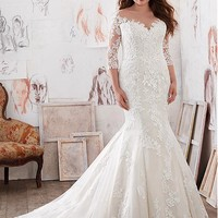 [198.99] Stunning Tulle & Satin Bateau Neckline Plus Size Mermaid Wedding Dresses With Lace Appliques - dressilyme.com