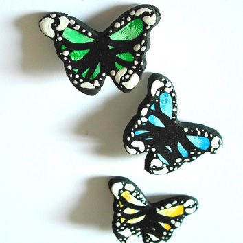 Colorful butterfly brooch handmade in cold porcelain and hand painted