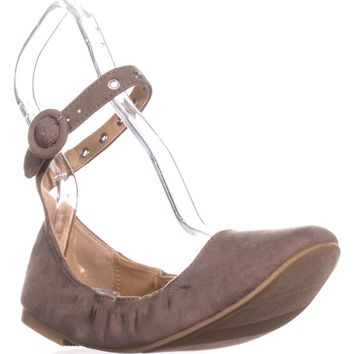 MG35 Francy Ankle Strap Ballet Flats, Taupe, 6 US