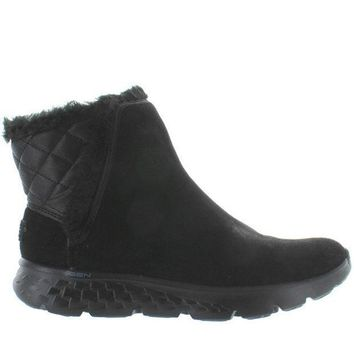 Skechers Cozies   Black Suede Faux Fur Lined Pull On Bootie