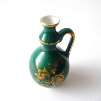 Vintage Small Decorative Vase - Green and Golden Porcelain - Miniature