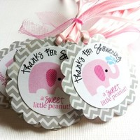 Little Peanut Pink Elephant Favor Tag in Chevron for Baby Shower Party