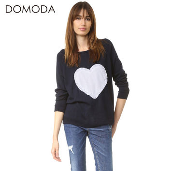 DOMODA Women Fashion Sweater Solid Blue Heart Patch Crew Neck Slim Chic Pullover Preppy Style Casual Knitted Sweater