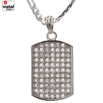 "Jewelry Kay style Men's Fashion Iced Out Dog Tag Hip Hop 24"" 5 mm Figaro Chain Pendant Necklace"