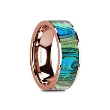 Mother of Pearl Inlay Rose Gold Ring, 14K, Polished Edges