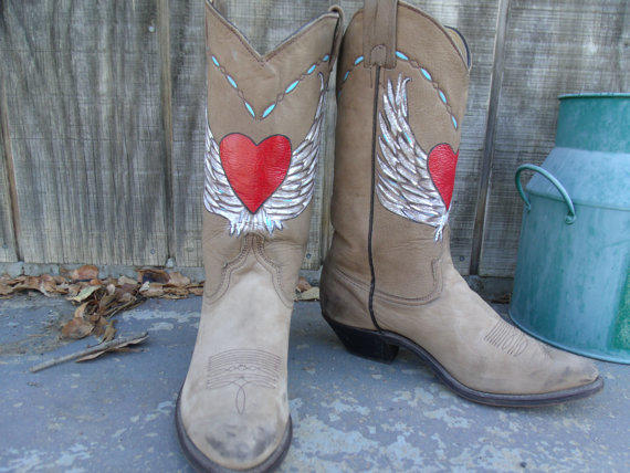 Luxury Hand Painted Vintage High Heel Cowboy Boots Women39s By DaVinciJane