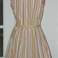 Vintage 50s Dress Awning Stripe Full Skirt Belted in Pink Gold Green, Size S/M