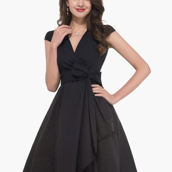 Cap Sleeve V-Neck Waist Tie Tent Dress