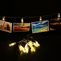 Photo Clip String Lights (2 Pack) 10 LED Battery Operated Fairy Lights For Hanging Photos, Cards and Art Bedroom, Dorm Room, Wedding, Party Décor (Warm White) - Walmart.com