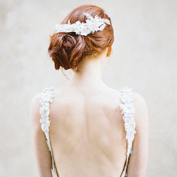 Crystal, Lace & Pearl Bridal Headpiece - Style 313