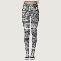 Black and White Tribal Pattern Ethnic Leggings