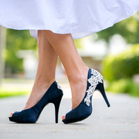 Wedding Shoes. Navy Blue Wedding Shoes/Bridal Shoes with Ivory Lace. US Size 9