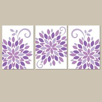 Purple Nursery Wall Art, Baby Girl Nursery Decor, Canvas or Prints, Purple Bedroom Pictures, Flower Wall Art, Set of 3 Crib Decor Pictures