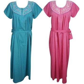 Aurora Womens Caftan Nightgown Tie Waist Cotton Summer Maxi DressL Lot of 2: Amazon.ca: Clothing & Accessories