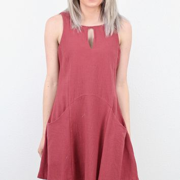 Keyhole + Pockets Tank Dress {Marsala}