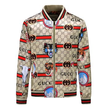 GUCCI 2018 autumn and winter new animal pattern letter print hooded jacket