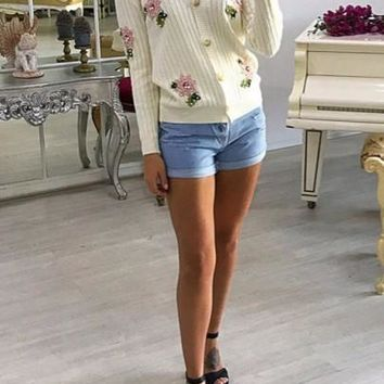 New Women White Patchwork Embroidery Appliques Single Breasted V-neck Long Sleeve Sweaters Cardigan