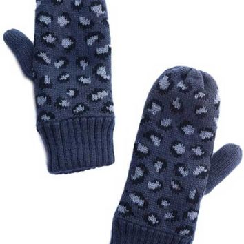 Leopard Print Fleece Lined Mittens