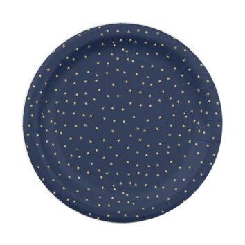 Navy And Gold Stars Paper Plate