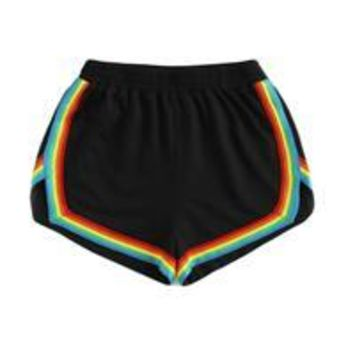 Hot Shorts SweatyRocks Rainbow Tape Trim Dolphin  Ladies Black Mid Waist Striped Casual  2017 Fall Elastic Waist Loose AT_43_3