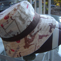 Men Fisherman Hat, Bucket Hat, Football fabric, Brown and Tan