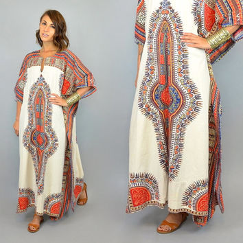 ETHNIC DASHIKI vintage 60s/70s bohemian gypsy hippie indian KAFTAN maxi dress, one size fits all