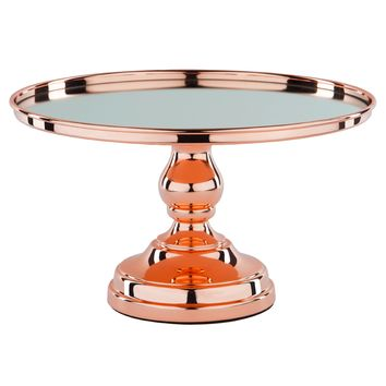 12 Inch Shiny Metallic Mirror-Top Cake Stand (Rose Gold Plated)
