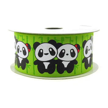 Baby Shower Grosgrain Ribbon, 1-1/2-inch, 10-yard, Two Pandas Apple Green