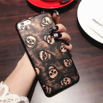 Cool Soft Leather Retro Skull iPhone Case Best Gift