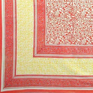 Handmade 100% Cotton Persian Filigree Block Print Tablecloth Tapestry Coverlet 60x90 Peach