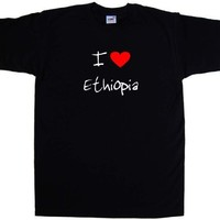 I Love Heart Ethiopia Black T-Shirt