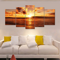Large Sea Sunrise Framed Picture HD Canvas Print Wall Art Painting Ready To Hang