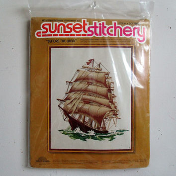 Vintage 1970s Crewel Embroidery Kit NOS Sunset Stitchery Before the Wind Sailing Ship DIY Wall Hangings Kit