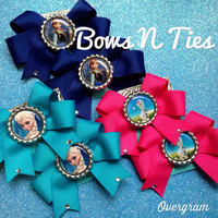 Snow queen and friends pigtail bow set choose character sisters snowman CUSTOM options available