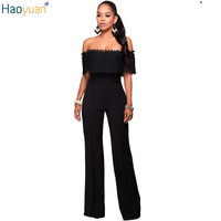 HAOYUAN Fashion Elegant Rompers Womens Jumpsuit Off Shoulder Ruffles White Black Bodysuit Strapless Loose Slim Casual Overalls