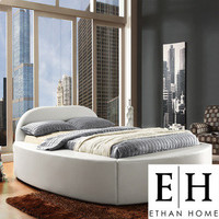 ETHAN HOME Dorchester White Bonded Leather Modern Upholstered Bed | Overstock.com