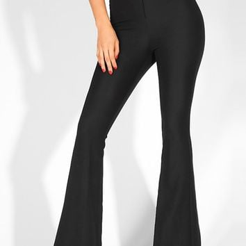 With Bells On Black High Waist Button Flare Leg Pants