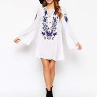 Glamorous Tall Embroidered Lace Up Dress With Fluted Sleeves