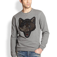 Diesel: Embroidered Wolf Cotton Sweatshirt