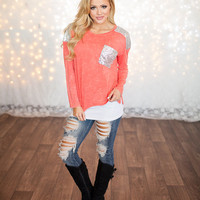 Long Sleeve Sequins Top Coral - Modern Vintage Boutique