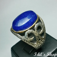 Authentic Turkish Ottoman Style Handmade 925 Sterling Silver Ring For Men With Sapphire Stone.