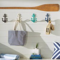 Anchor 4 Piece Metal Wall Hook Set