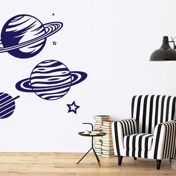 Vinyl Decal Wall Sticker Planetarium Planets Picture Star Saturn Rings Unique Gift (n476)