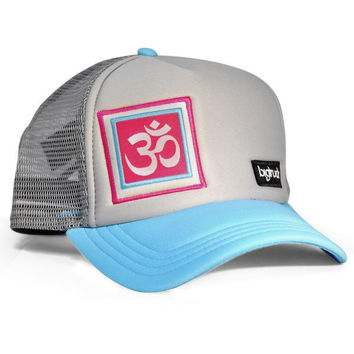 Snapback Trucker Yoga Aum Bright Blue, Pink & Grey Hat