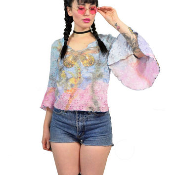 vintage 90s pastel embroidered blouse poet sleeve butterfly rhinestone sheer lace KAWAII cyber club kidd raver ombre grunge small